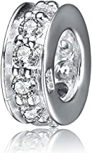 SOUKISS 925 Sterling Silver Spacer Charm Bead with Clear CZ for Charms Bracelets