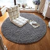 HEXIN Plüsch Teppich Super weicher Faux Flauschiger Samt Moderne Flauschige Innenteppiche,Lange Haare Fell Optik Gemütliches Bettvorleger Sofa Matte(Grau,100x100cm)