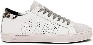 Women's JohnF White/Pink Italian Leather Sneaker