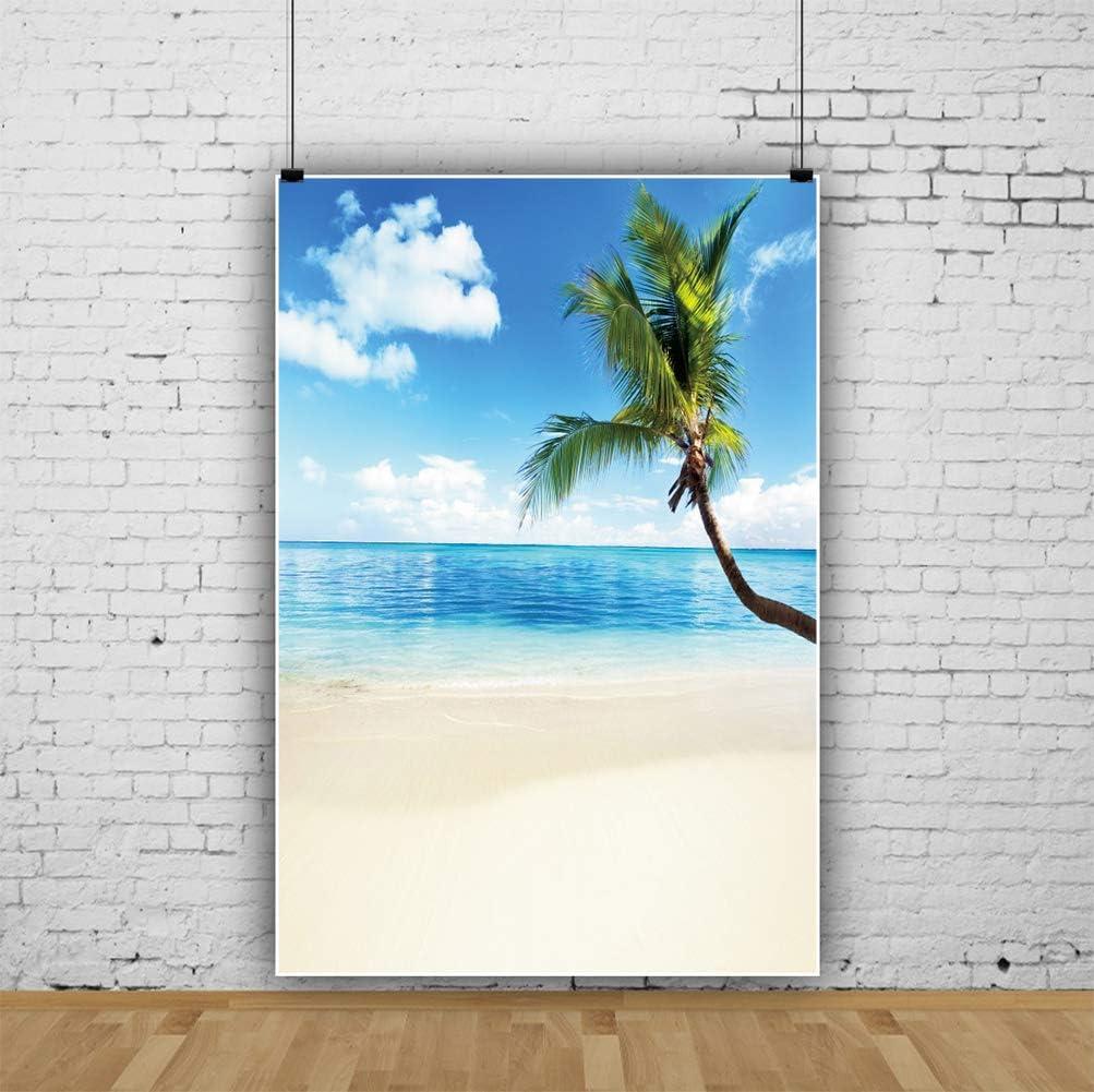 DORCEV 4x6ft Summer Beach Backdrop Tropical Luau Hawaiian Theme Party Photography Backdrop Seaside Island Landscape Palm Tree Pool Party Banner Children Adult Portrait Photo Studio Props