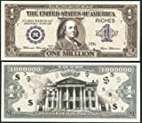 Traditional Realistic Looking $Million$ Dollar Bill Educational W Ben Franklin Lot of 2 Bills