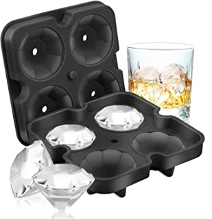 SAWNZC Ice Cube Trays Diamond Ice Cube Molds Reusable Silicone Flexible 4 Cavity Ice Maker for Chilling Whiskey Cocktails, Funnel Included, Easy Release