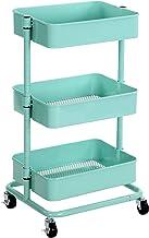 SONGMICS Wózek z 3 poziomami, wózek magazynowy, półka kuchenna na kółkach, przegródki magazynowe z regulacją wysokości, wó...