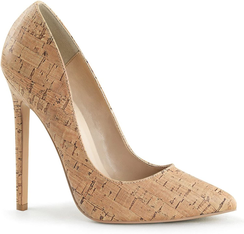 Pleaser 5  Heel Pointed Toe Womens Pumps shoes, Cork Pu, Size - 8 Beige