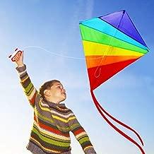 LeSharp 47inch Rainbow Diamond Kite with 30m String Outdoor Fun Kids Interactive Toy