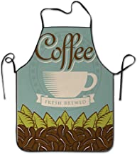 Huayuanhurug Four Latte Mugs Hot Drinks Relax Good Morning Themed Aroma Breakfast Graphic Art Funny BBQ Apron Kitchen Apron Creative Cooking Grilling Baking Gardening Apron Chef Party Apron