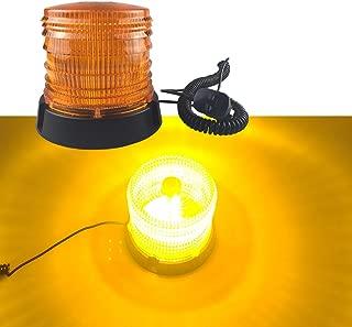 16 LED Waterproof Led Strobe Light, Emergency Flashing Warning Beacon for Truck Vehicle with 12v / 24V Cigarette Lighter Plug and Magnetic Base (Amber/Yellow)
