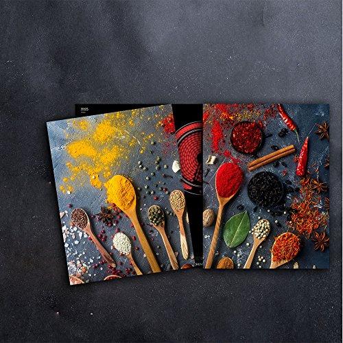 DAMU Herdabdeckplatten 2 x 40 x 52 cm Ceranfeldabdeckung Schutz Herdblende 80x52 2teilig Glas Spritzschutz Abdeckplatte Glasplatte Herd Ceranfeld Abdeckung Schneidebrett Gewürze Schwarz