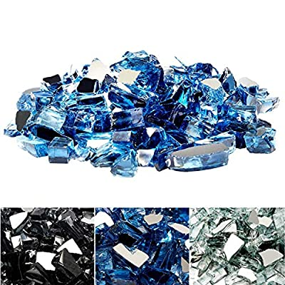 U-MAX 10-Pound Reflective Fire Glass Beads 3/4 inch Crushed Glass Lava Rocks for Polygon Fire Pit Fireplace Landscaping(Blue)