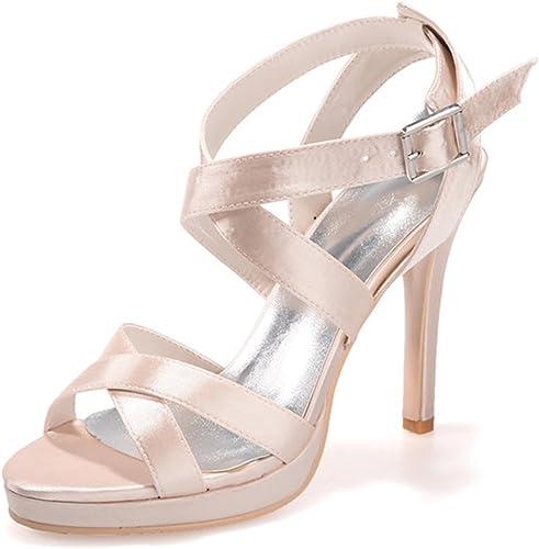 Elobaby Chaussures De Femmes pour Le Le Mariage Peep Toe Summer Basic Buckle pour Chaton Talon Robe LC-5915  sortie en vente