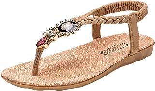 Amlaiworld Sandals for Women Summer Flat Beach Shoes Elastic Band Bohemia Open Toe Sandals