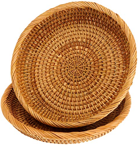 WUWEOT 2 Pack Woven Storage Basket, Small Handmade Bread Serving Basket Display Basket Fruit Candy Cake Tray, Rattan Storage Basket for Keys, Wallet, Cell phone and more (7.5 Inches)