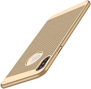 """iPhone X Case,CCgo Mesh Design Ultra Slim Thin Breathable Cooling Heat Dissipation PC Hardcase Shockproof Protective Matt Cover for iPhone X (Gold, iPhone 6/6s Plus 5.5"""")"""