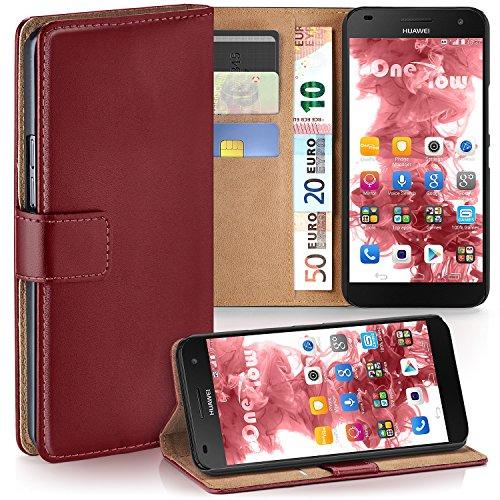 MoEx® Booklet mit Flip Funktion [360 Grad Voll-Schutz] für Huawei G7 | Geldfach & Kartenfach + Stand-Funktion & Magnet-Verschluss, Dunkel-Rot