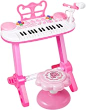 M SANMERSEN Kids Piano Keyboard, 31 Keys Piano Keyboard with Colorful LED Light and Stool, MP3 Function Teaching Music Instrument for Kids Boys and Girls
