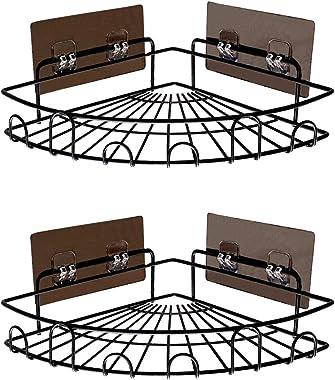 Yeegout Adhesive Shower Caddies Corner with Hooks No Drilling Bathroom Shelf Organizer Kitchen Basket Rack, 2 Pack