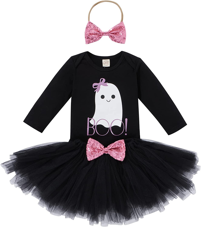 3PCS Baby Girls Halloween Outfits Set Long Sleeve Romper + Tulle Tutu Skirt + Headband