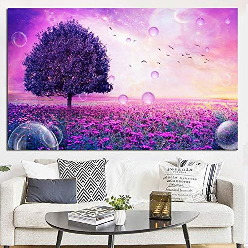 Lila Blume Baum Blase Landschaft Kreative Leinwand Malerei Pop Art Wand Bild Poster Wohnzimmer Dekor Kein Rahmen