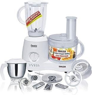 Inalsa Food Processor Fiesta 650-Watt with Break Resistant Processing Bowl, Blender, Dry Grinding Jar, 8 Accessories| 5 Yr...