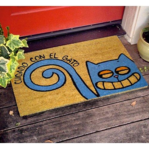 KOKO DOORMATS felpudos Entrada casa Originales, Fibra de Coco y PVC, Felpudo Exterior Cuidado con EL Gato, 40x60x1.5 cm | Alfombra Puerta Entrada casa Exterior | Felpudos Divertidos para Puerta