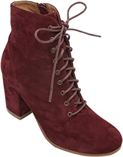 Benji - Women's Lace-Up Vintage Zipper Boot - Mid Height Wrapped Block Heel Ankle Bootie Burgundy Suede 6.5M