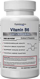 Superior Labs — Best Vitamin B6 Dietary Supplement — 50 mg Dosage ,120 Vegetable Capsules —Supports Immune System Health —...