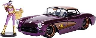 New DIECAST Toys CAR JADA 1:24 W/B - DC Comics Bombshells - Batgirl & 1957 Chevrolet Corvette Purple 30457