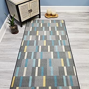 Choose Your Size GREY GINGHAM Non-Slip Rubber Backed Hallway Carpet Runner Rug | 22-inch x 6-feet