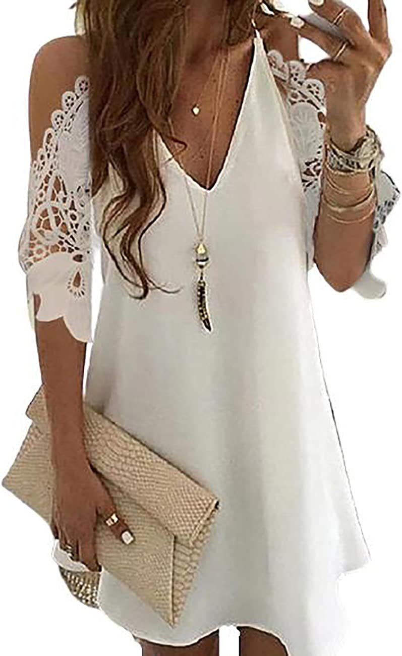 CHICME Sexy Women's Cold Shoulder Crochet Lace Hollow Out Lace Sleeve Loose Casual Dress