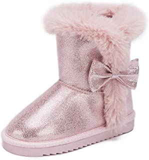 Pescool Girls Toddler Plush Mid Calf Winter Snow Boots Warm Bow Tie Flat Shoes