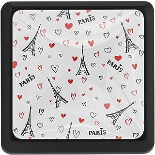 EZIOLY France Paris Torre Eiffel con corazones cuadrados para armarios de cocina armarios aparadores tiradores de cajó...