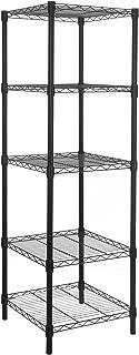 HollyHOME 5 Shelves Adjustable Steel Wire Shelving Rack in Small Space or Room Corner, Metal Heavy Duty Storage Shelf, Utility Rack, Bathroom Storage Tower Kitchen Shelving, Thicken Tube, Black