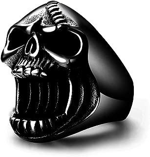 Black Skull Rings Gothic Biker Punk Surgical Stainless Steel Mens Ring Beer Bottle Opener for men Halloween gift