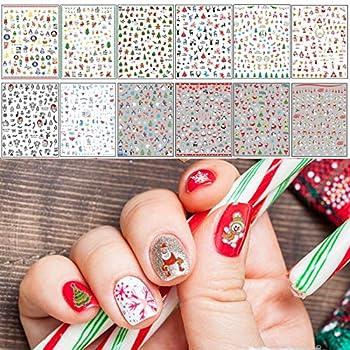 TailaiMei Christmas Nail Decals Stickers Self-Adhesive Nail Art Decorations Design for Santa Claus Snowflake Snowman  1366 Pcs 12Sheets