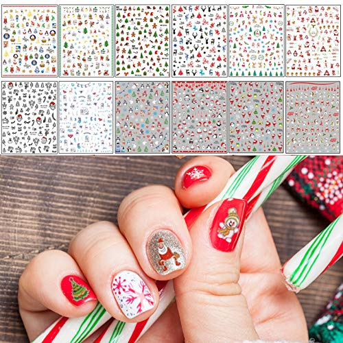 TailaiMei Christmas Nail Decals Stickers, Self-Adhesive Nail Art Decorations, Design for Santa Claus Snowflake Snowman (1366 Pcs, 12Sheets)