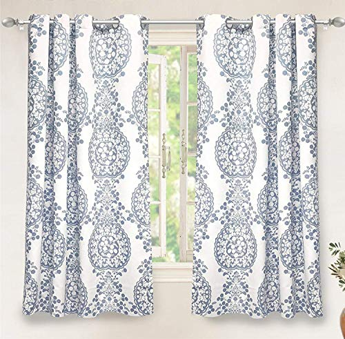 DriftAway Samantha Thermal Room Darkening Grommet Unlined Window Curtains Floral Damask Medallion Pattern 2 Panels 52 Inch by 63 Inch Dusty Blue