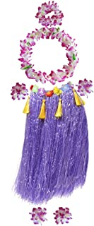 Fighting to Achieve Unisex Adult Hula Dancer Outfits 7pcs, Grass Skirt 31.5
