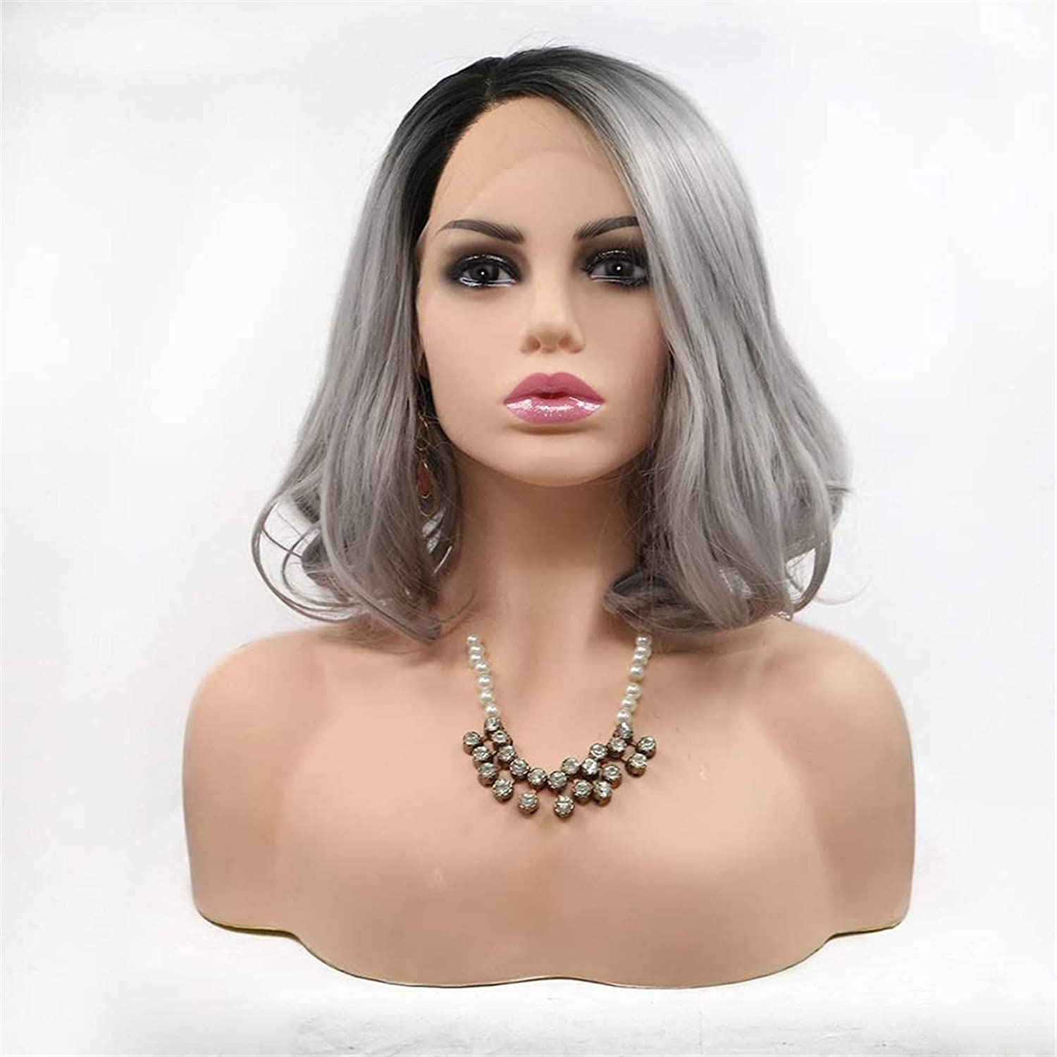 Wigs Wig flaxen gray short hair curly wig Our shop most popular lace lady Eur shopping handmade