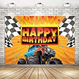 Monster Truck Vehicle Party Decorations Monster Truck Happy Birthday Backdrop Banner for Kids Teenagers | Monster Truck Checkered Flag Cars Backdrop Background Banner Wall Decorations Birthday BabyShower Party Supplies 71x 49inch