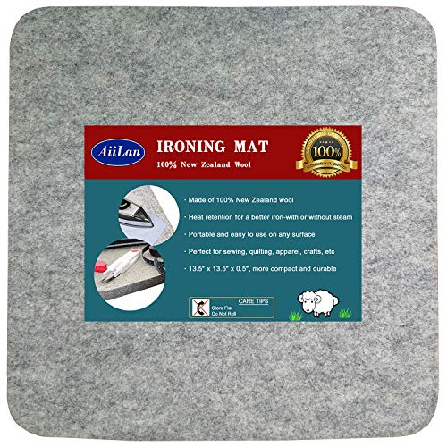 13.5' x 13.5' Quilting Ironing Pad for Quilters – Wool Pressing Mat, Portable Wool Felted Iron Board