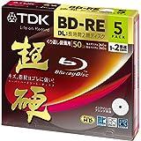 TDK 録画用ブルーレイディスク 超硬シリーズ BD-RE DL 50GB 1-2倍速 ホワイトワイドプリンタブル 5枚パック 5mmスリムケース BEV50HCPWA5A