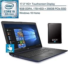 """$799 » 2020 HP 17.3"""" Touchscreen Laptop Computer, Intel Quad-Core i5-8265U (Beats i7-7500U), 8GB DDR4 RAM,1TB HDD + 256GB PCIe SSD, Blue, Windows 10 Home + EST 320GB External Hard Drive"""