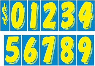 EZ Line Vinyl Decals for Cars Blue and Yellow Large Number Stickers 11 Dozen Windshield Numbers Pro Pack Dealer Supplies EZ167