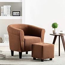 vidaXL 2 Piece Armchair and Stool Set Brown Fabric