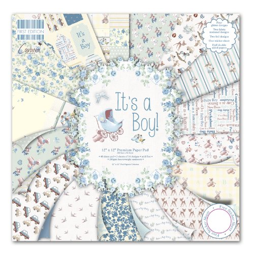 First Edition It's a Boy - Bloc de de Papel para Manualidades (30,5 x 30,5 cm, 48...
