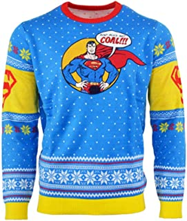 Superman Ugly Christmas Sweater 'Bad Guys Get Coal' for Men Women Boys and Girls
