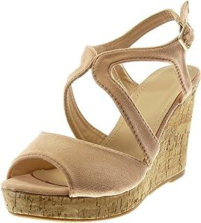 4d3e4a18cc1eb1 Angkorly - Chaussure Mode Mule Sandale Peep-Toe lanière Cheville Plateforme  Femme liège lanière Talon