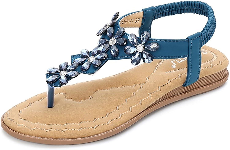 Meeshine Womens T-Strap Open Toe Sparkle Flip-Flops Summer Dress Flat Sandals shoes