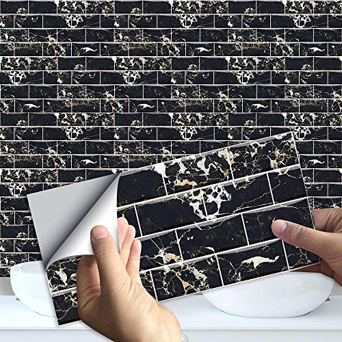 WATCBQ Schwarzer Marmor Muster Rechteck Keramikfliesen Aufkleber , Für Badezimmer Küche Neue Wand Selbstklebende wasserdichte Peel Fliesen Art Deco Wandbild-Mz-5-002_10Cmx20Cmx10Pcs