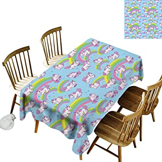 kangkaishi Unicorn Home and Kids Decor 3D Printed Long Tablecloth Repeating Pattern Mystical Ancient Beast Purity Grace Symbol Graphic Desktop Protection pad W52 x L70 Inch Multi